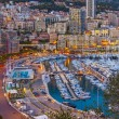 The Principality of Monaco. Evening view of the port and residential area — Stock Photo #32711047