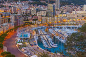 The Principality of Monaco. Evening view of the port and residential area — Stock Photo