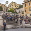Rome, Italy. Tourists on the Spanish Steps — Stok fotoğraf