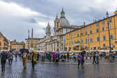 Rome, Italy. Piazza Navona in rainy weather — Stock Photo