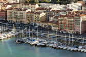 France , Cote d'Azur , in October 2013 . View of the city and port of the hill Chateau — Stock Photo