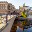 Stockholm . One of the city's waterfront and its reflection in water — Stock Photo