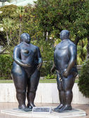 The Principality of Monaco, 13 October 2013 . Sculpture of Adam and Eve in Monte - Carlo (author - Fernando Botero ) in a public garden — Stock Photo