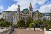 The Principality of Monaco. Monte Carlo casino and a public garden — Stockfoto