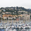 France , Menton, 15 October 2013 . View of the bay , the coastal strip and the foothills of the Alps , shrouded in mist — 图库照片