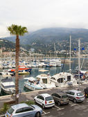 France , Menton, 15 October 2013 . View of the bay , the coastal strip and the foothills of the Alps , shrouded in mist — Stock Photo
