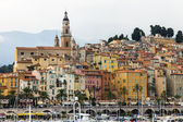 France , Cote d'Azur , Menton. View of the old city from the sea — Stock Photo