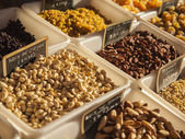 Eco-friendly products on a market stall . Various nuts from Provence — Stock Photo