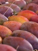 Eco-friendly products on the market stall . Large ripe mango — Stock Photo