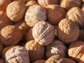 Eco-friendly products on the market stall . walnuts — Stock Photo