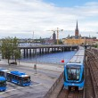 Sweden, Stockholm. Typical urban view with different modes of transport — Stock Photo #35951539