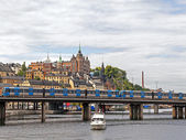 Sweden, Stockholm. Typical urban view with different modes of transport — Стоковое фото