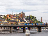 Sweden, Stockholm. Typical urban view with different modes of transport — Stock Photo