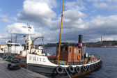 Sweden, Stockholm. Ship moored at the city's waterfront — Stock Photo