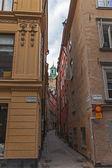 Stockholm, İsveç. eski şehrin tipik görünümü — Stok fotoğraf