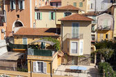France, Cote d'Azur, Villefranche. Architectural details of houses on the waterfront, view from the sea — Stock Photo