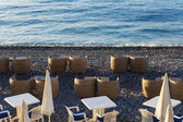 Mediterranean, French Riviera . Coastline in Nice. Summer outdoor cafes — Stock Photo