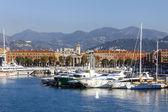 Frankreich, cote d ' azur. nett, 16. oktober 2013. blick auf die schiffe und yachten im hafen von nizza hill chateau. — Stockfoto