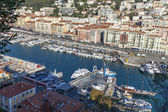 France , Cote d'Azur . Nice, October 16, 2013 . View of the ships and yachts in the port of Nice hill Chateau. — Stock Photo