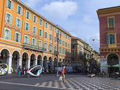 France , Cote d'Azur , Nice, October 18, 2013 . Victor Massena area . Nice - the largest resort and tourist town on the French Riviera — Stock Photo