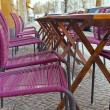 Berlin , a blizzard in the last days of winter . Outdoor cafe tables , covered with snow — Stock Photo #37342987