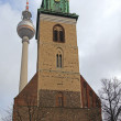 Germany, Berlin, February 20, 2013 . Urban TV Tower and St. Mary's Church ( Marienkirche ) — Stock Photo #37453893