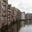 Hamburg, Germany , February 19, 2013. View of the old houses on the banks of the Alster river channels on a cloudy winter day. — Stock Photo #37676245