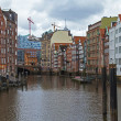 Hamburg, Germany , February 19, 2013 . View of the canal and old buildings warehouses and offices in the historic city in cloudy winter weather — Stock Photo #38009159