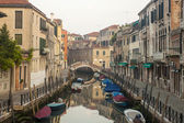 Venice, Italy, June 21, 2012 . Morning fog over Venetian canals — Stock Photo
