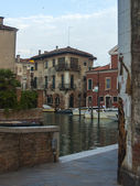 Venice, Italy, Typical city street view channel early summer evening — Stock Photo