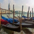 Venice, Italy, June 21, 2012 . View of the piers for gondolas and Grand Canal in the early morning — Stock Photo
