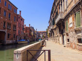 Venice, Italy, June 21, 2012. Typical city street view channel — Stock Photo