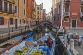 Venice, Italy . June 22, 2012 . Cargo boats carry about products on the canals of Venice — Stock Photo