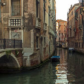 Italy , Venice. Architecture of ancient Venetian houses built on the canal — Stock Photo