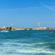 Venice, Italy . View of the islands of the Venetian lagoon and cruise ship — Stock Photo