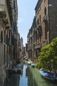 Venice, Italy . Architecture of ancient Venetian houses built on the canal — Stock Photo