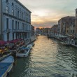 Venice, Italy, June 24, 2012 . Kind of Veneticanal in early evening . Tourists rest in cafe on shore — Stock Photo #40545389