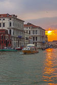 Italy , Venice. View of the Grand Canal in the early evening . Grand Canal is the main thoroughfare in Venice — Stock Photo