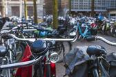 Amsterdam, The Netherlands, April 12, 2012. Bike parking on city street — Foto de Stock