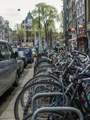 Amsterdam, The Netherlands, April 12, 2012. Bike parking on city street — Стоковое фото