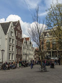 Amsterdam, The Netherlands, View of the typical city street spring day — Stock Photo