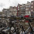 Amsterdam, The Netherlands, April 13, 2012 . View of the typical city street spring day — Stock Photo