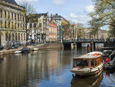 Amsterdam, The Netherlands . Typical urban landscape on a sunny spring day — Stock Photo