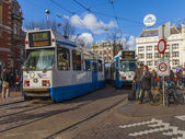 Amsterdam, The Netherlands, April 15, 2012 . Tram on city street — Stockfoto
