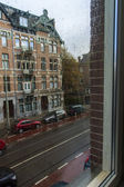 Amsterdam, The Netherlands. View from the window in the rain — ストック写真