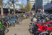 Amsterdam, The Netherlands. Bike parking on city street — Stok fotoğraf