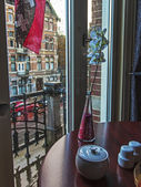 Amsterdam, The Netherlands. View from the window in the rain — Stok fotoğraf