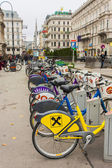 Vienna, Austria. Parking of bicycles on the city street — Stock Photo
