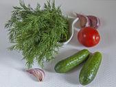 Verdure fresche e verdure per insalata — Foto Stock