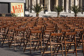 Vienna, Austria. Chairs for the audience on the square near the Town hall — Zdjęcie stockowe